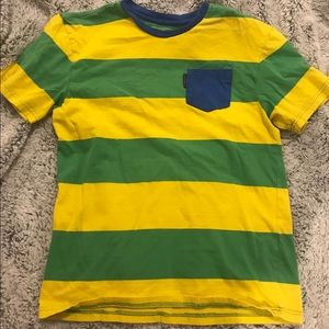 Yellow and green striped tee with blue accents